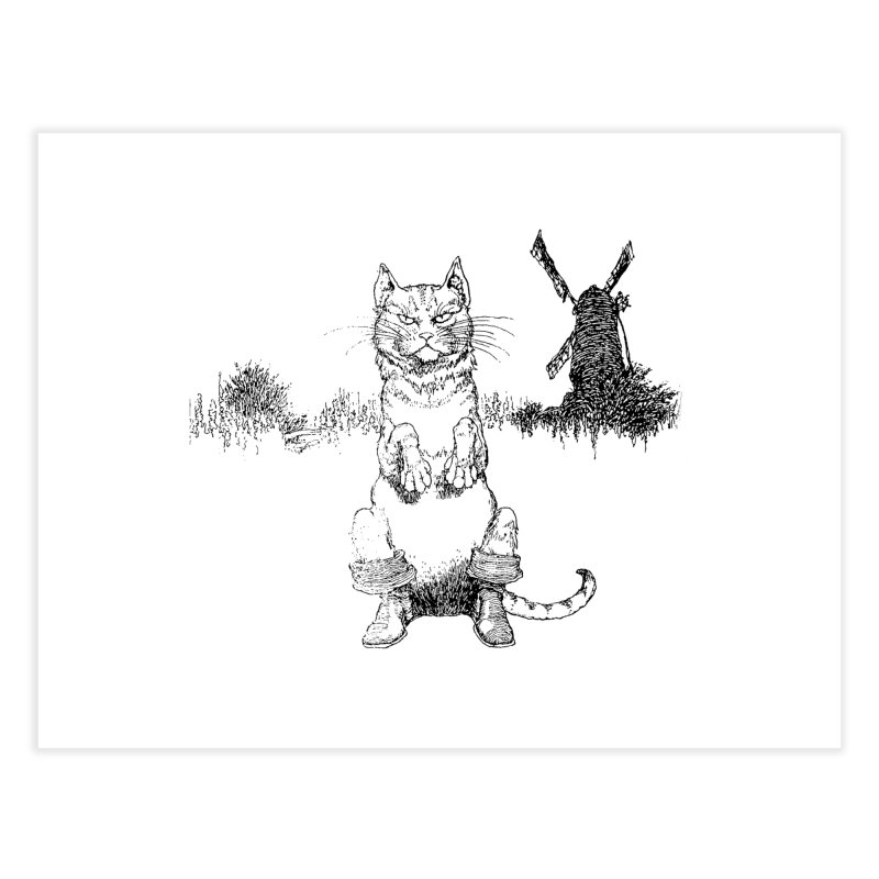 Puss in Boots Home Fine Art Print by Green Grackle Studio
