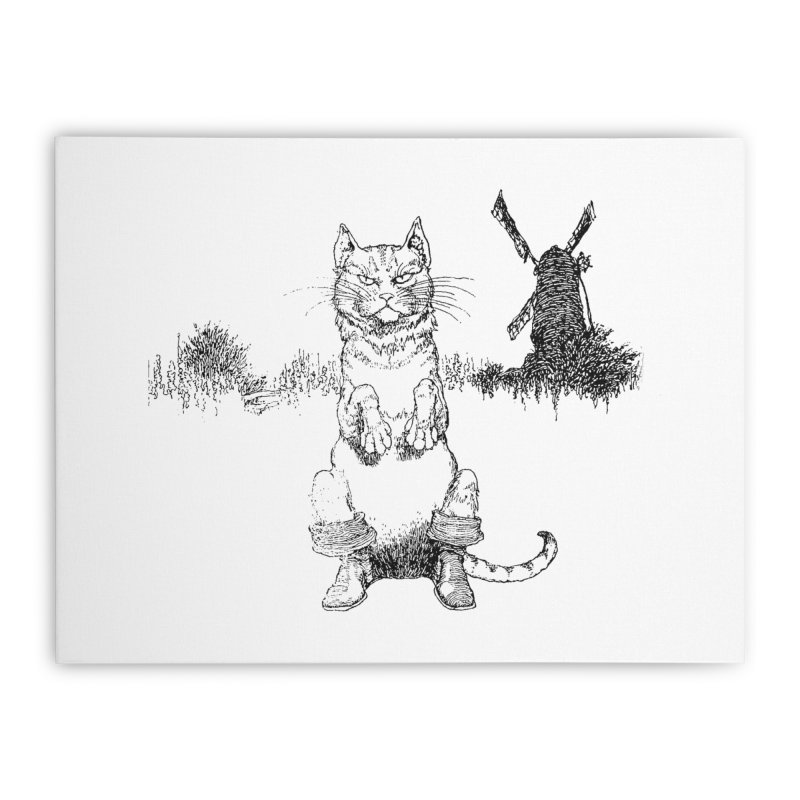Puss in Boots Home Stretched Canvas by Green Grackle Studio