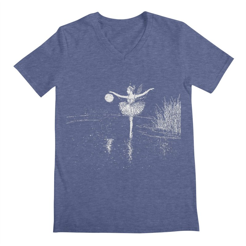 Anne Crosses the Dark Pool Men's Regular V-Neck by Green Grackle Studio