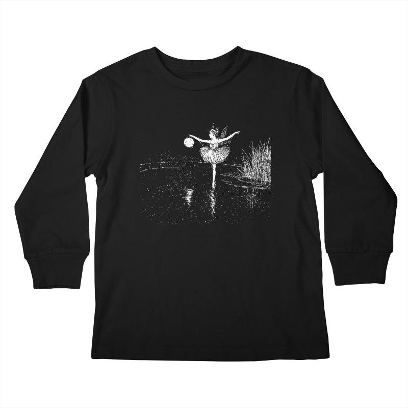 Anne Crosses the Dark Pool Kids Longsleeve T-Shirt by Green Grackle Studio