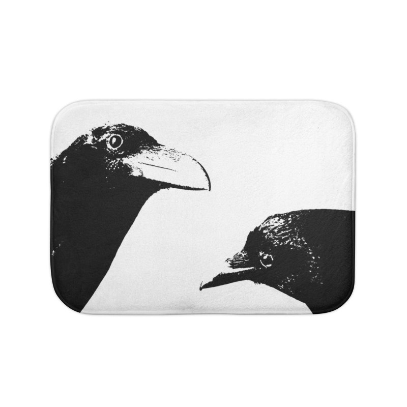 A Crow Conversation Home Bath Mat by Green Grackle Studio