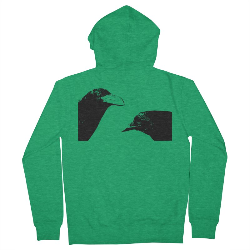 A Crow Conversation Men's French Terry Zip-Up Hoody by Green Grackle Studio