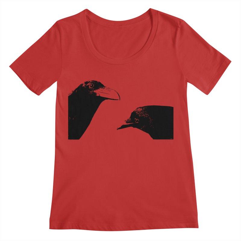 A Crow Conversation Women's Regular Scoop Neck by Green Grackle Studio