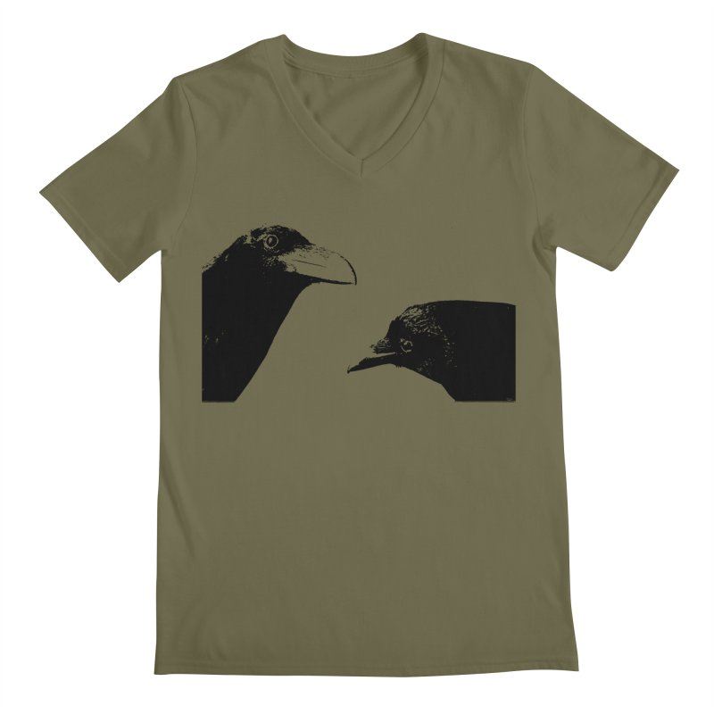 A Crow Conversation Men's Regular V-Neck by Green Grackle Studio