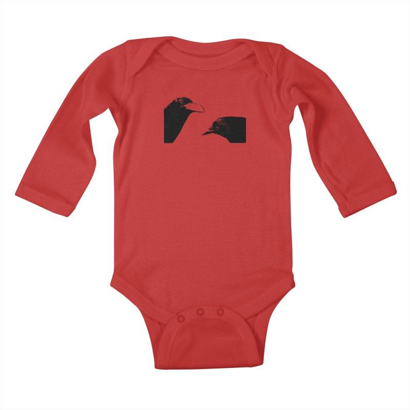 A Crow Conversation Kids Baby Longsleeve Bodysuit by Green Grackle Studio