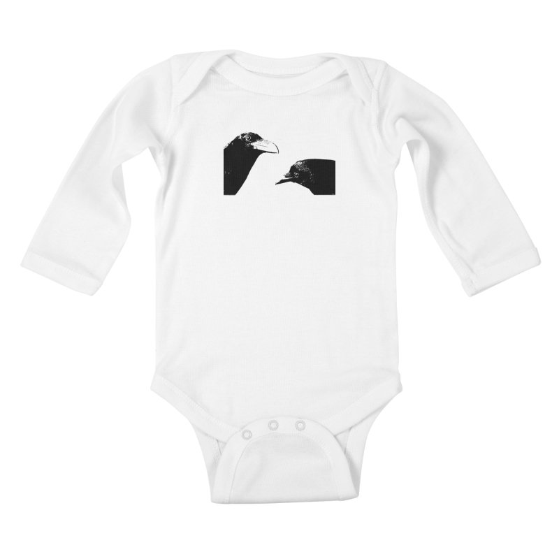 A Crow Conversation Kids Baby Longsleeve Bodysuit by Green Grackle Studio