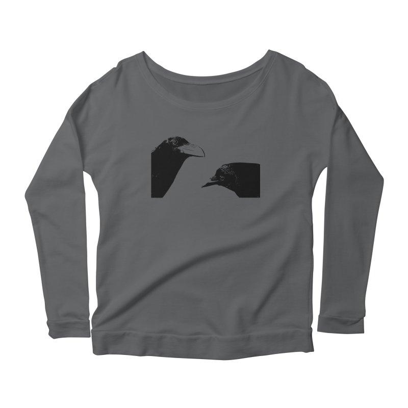 A Crow Conversation Women's Scoop Neck Longsleeve T-Shirt by Green Grackle Studio