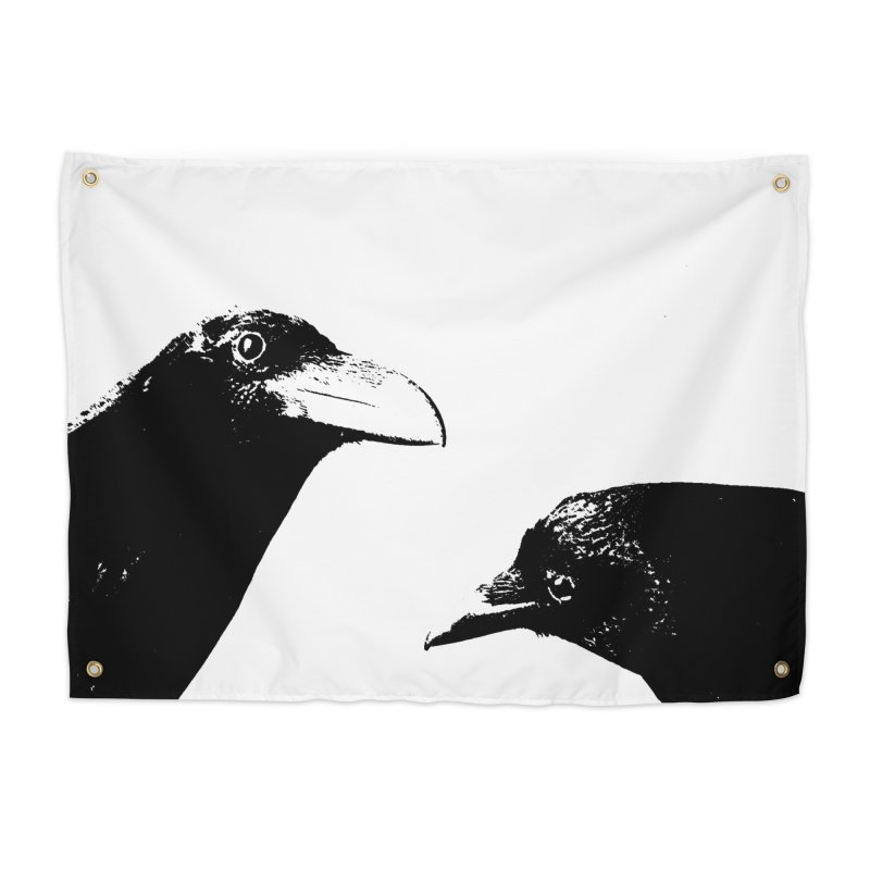 A Crow Conversation Home Tapestry by Green Grackle Studio