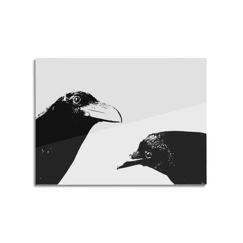 A Crow Conversation Home Mounted Aluminum Print by Green Grackle Studio