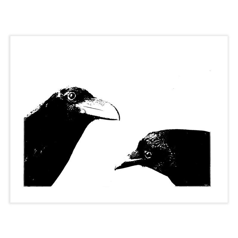 A Crow Conversation Home Fine Art Print by Green Grackle Studio