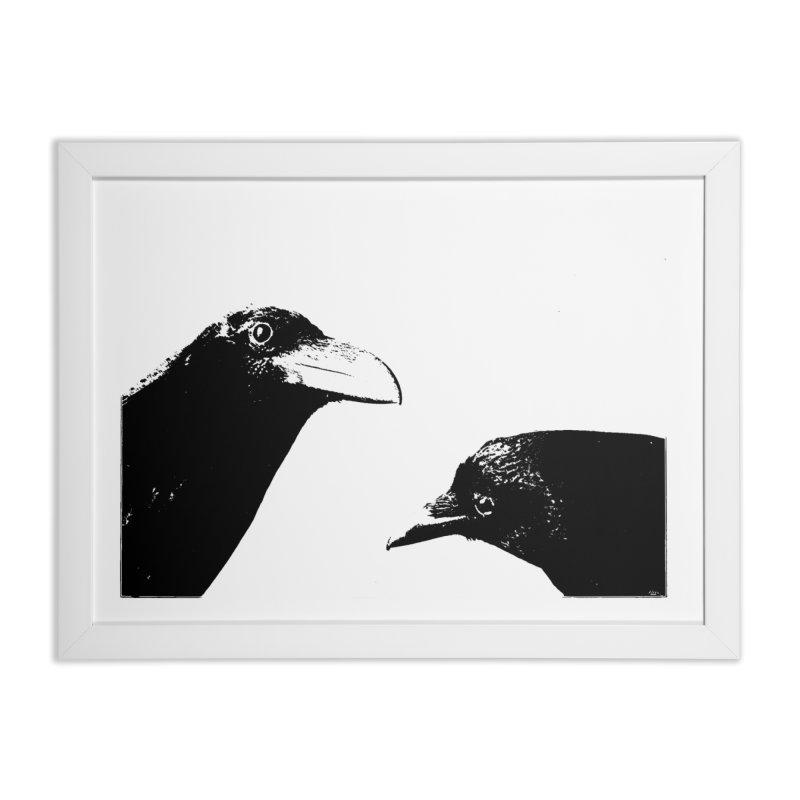 A Crow Conversation Home Framed Fine Art Print by Green Grackle Studio