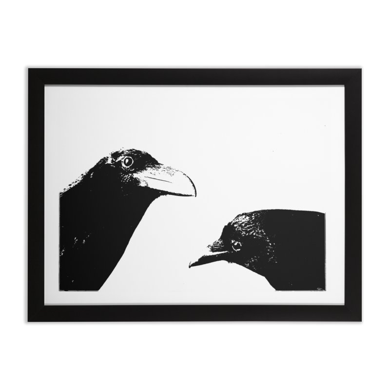 A Crow Conversation Home Framed Fine Art Print by Green Grackle Studio