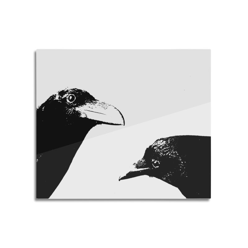 A Crow Conversation Home Mounted Acrylic Print by Green Grackle Studio