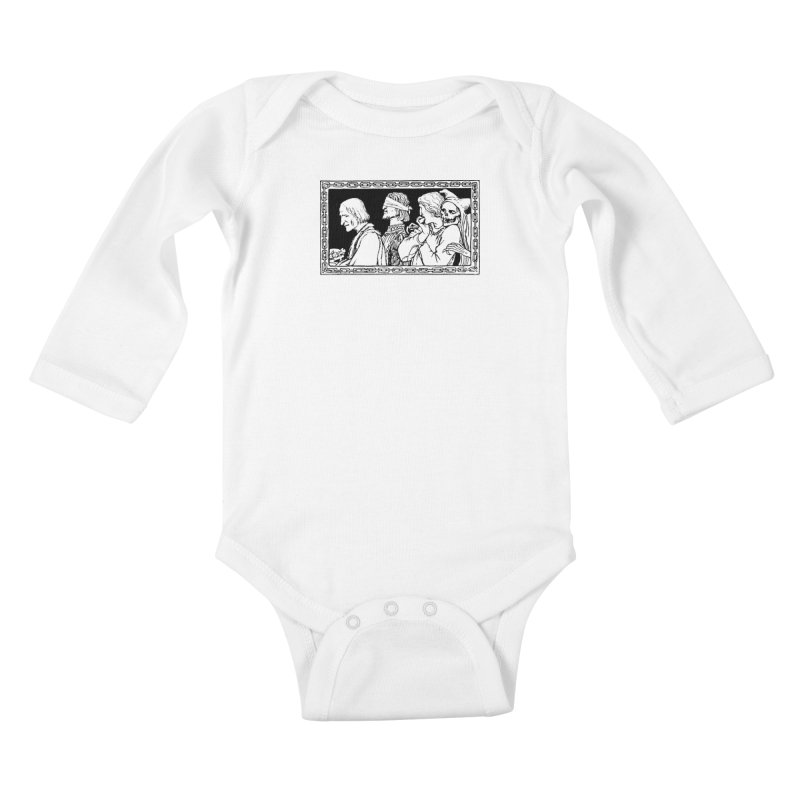 A Masque of Dead Florentine Kids Baby Longsleeve Bodysuit by Green Grackle Studio