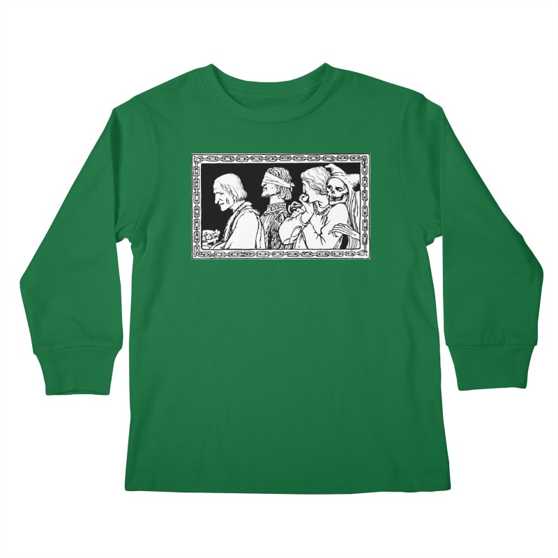 A Masque of Dead Florentine Kids Longsleeve T-Shirt by Green Grackle Studio