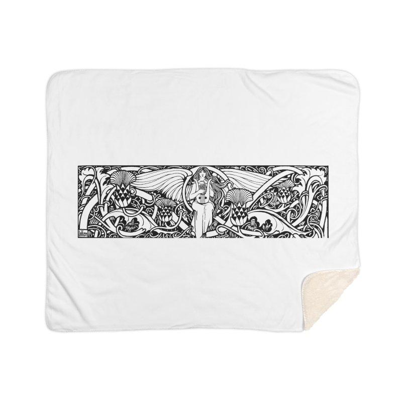 Angel Home Sherpa Blanket Blanket by Green Grackle Studio