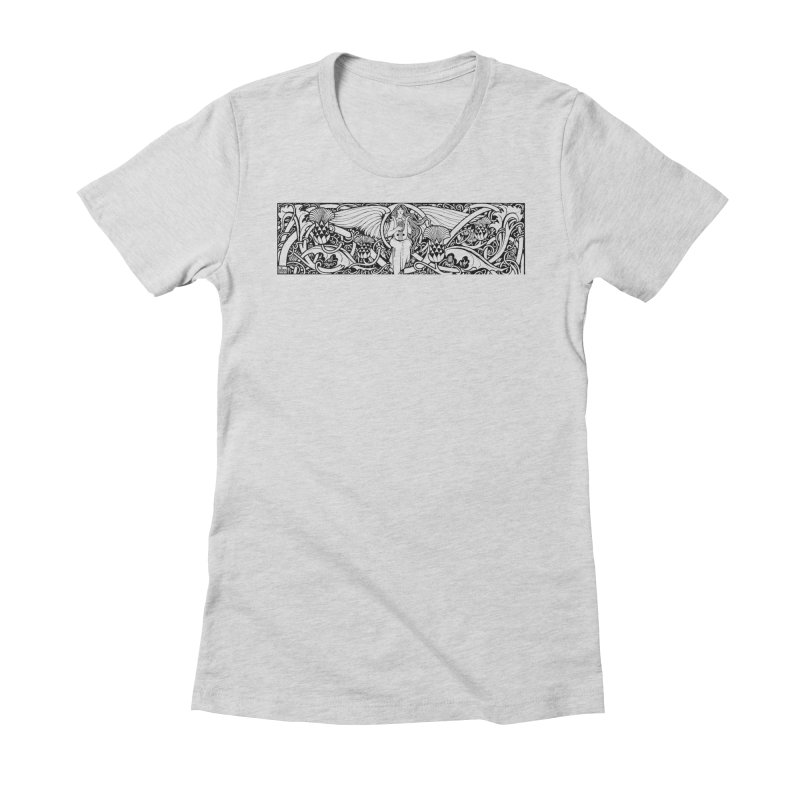 Angel Women's Fitted T-Shirt by Green Grackle Studio
