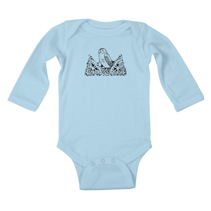 Tis Nothing but a Little Downy Owl Kids Baby Longsleeve Bodysuit by Green Grackle Studio