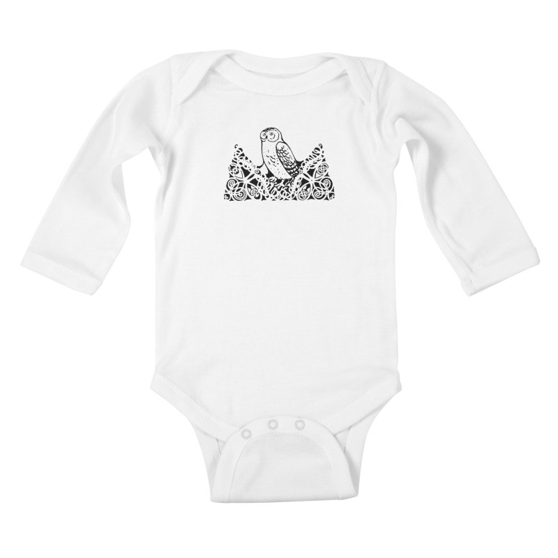 Tis Nothing but a Little Downy Owl Kids Baby Longsleeve Bodysuit by Green Grackle Studio