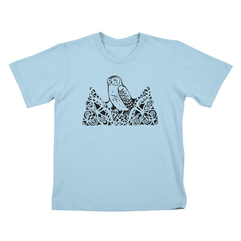 Tis Nothing but a Little Downy Owl Kids T-Shirt by Green Grackle Studio