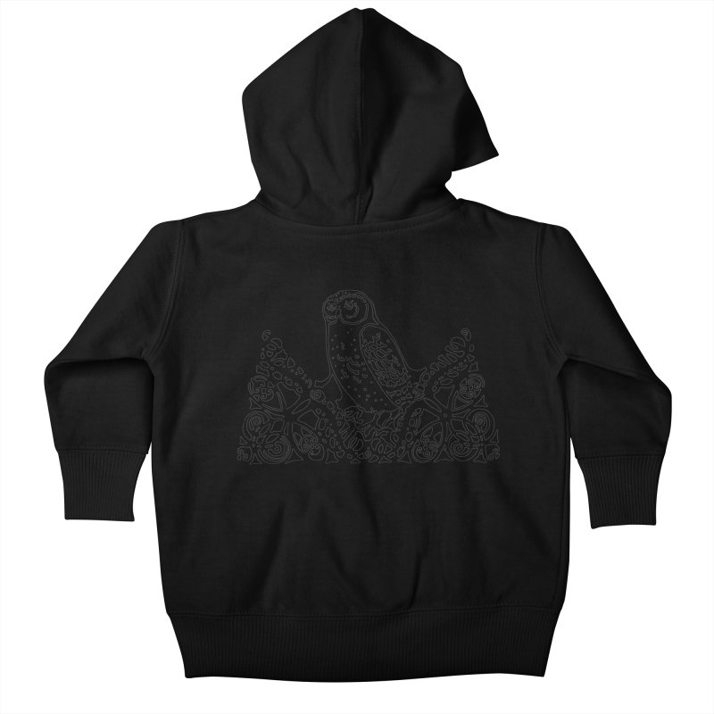 Tis Nothing but a Little Downy Owl Kids Baby Zip-Up Hoody by Green Grackle Studio