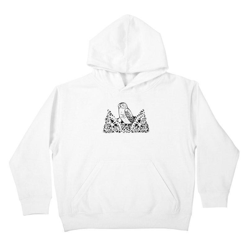 Tis Nothing but a Little Downy Owl Kids Pullover Hoody by Green Grackle Studio