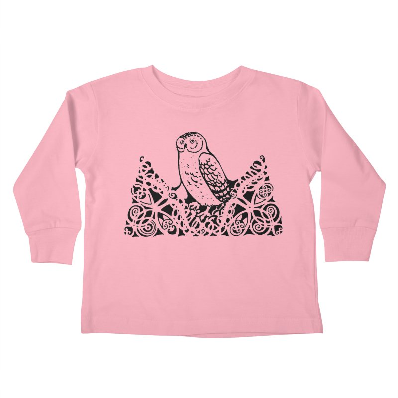 Tis Nothing but a Little Downy Owl Kids Toddler Longsleeve T-Shirt by Green Grackle Studio