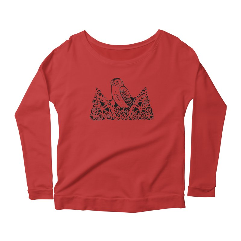 Tis Nothing but a Little Downy Owl Women's Scoop Neck Longsleeve T-Shirt by Green Grackle Studio