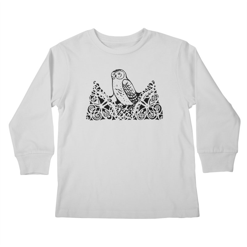 Tis Nothing but a Little Downy Owl Kids Longsleeve T-Shirt by Green Grackle Studio