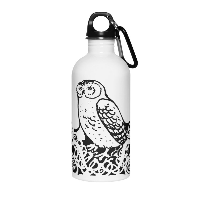 Tis Nothing but a Little Downy Owl Accessories Water Bottle by Green Grackle Studio