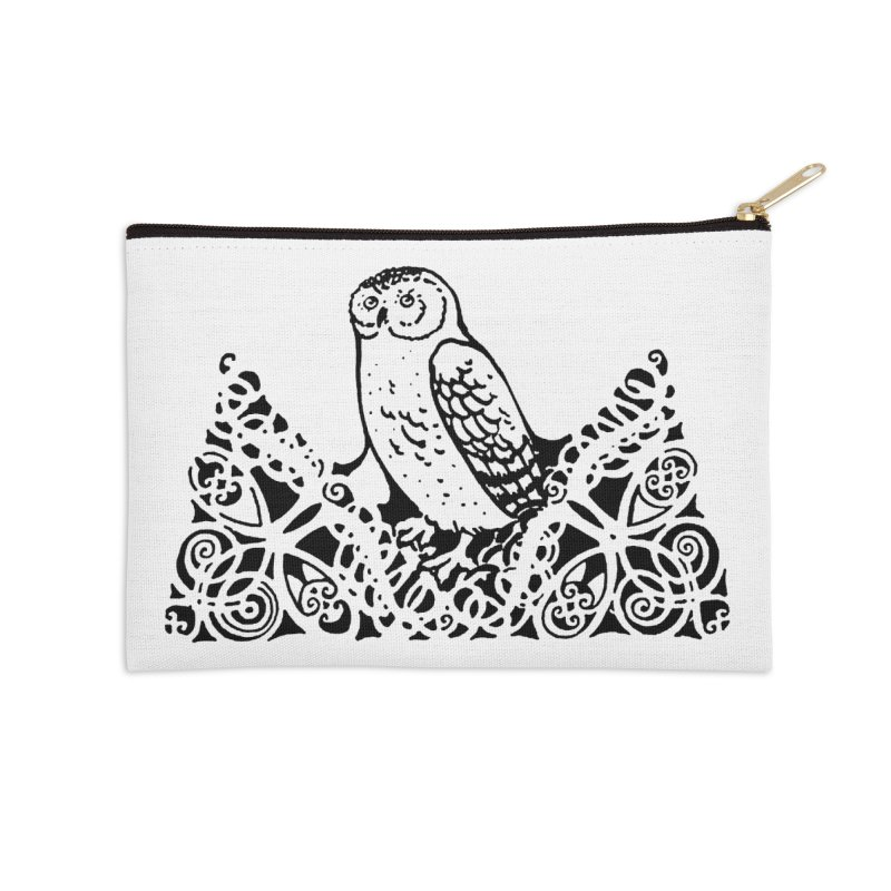 Tis Nothing but a Little Downy Owl Accessories Zip Pouch by Green Grackle Studio