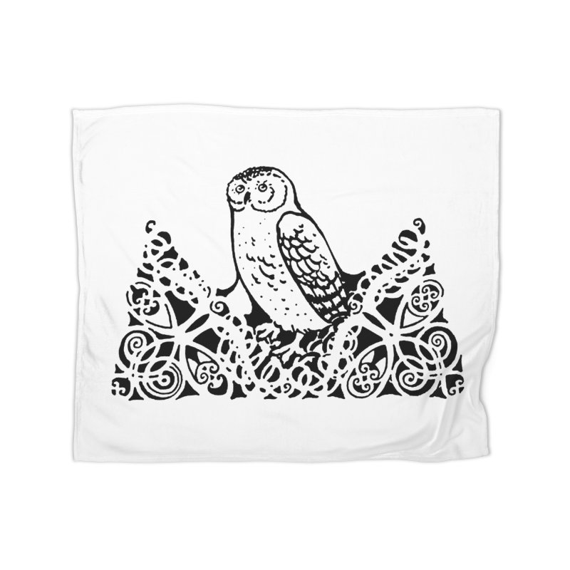 Tis Nothing but a Little Downy Owl Home Fleece Blanket Blanket by Green Grackle Studio