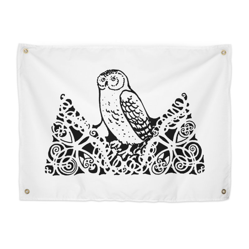 Tis Nothing but a Little Downy Owl Home Tapestry by Green Grackle Studio