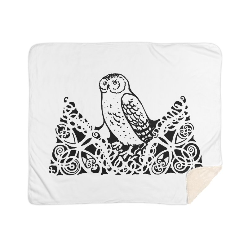 Tis Nothing but a Little Downy Owl Home Sherpa Blanket Blanket by Green Grackle Studio