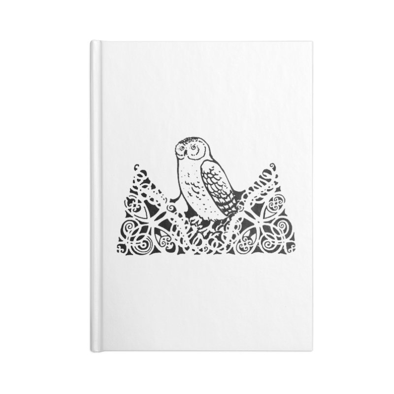 Tis Nothing but a Little Downy Owl Accessories Lined Journal Notebook by Green Grackle Studio