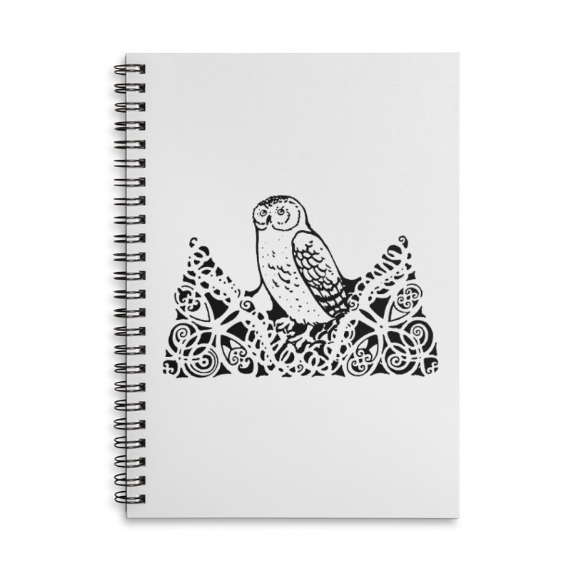 Tis Nothing but a Little Downy Owl Accessories Lined Spiral Notebook by Green Grackle Studio