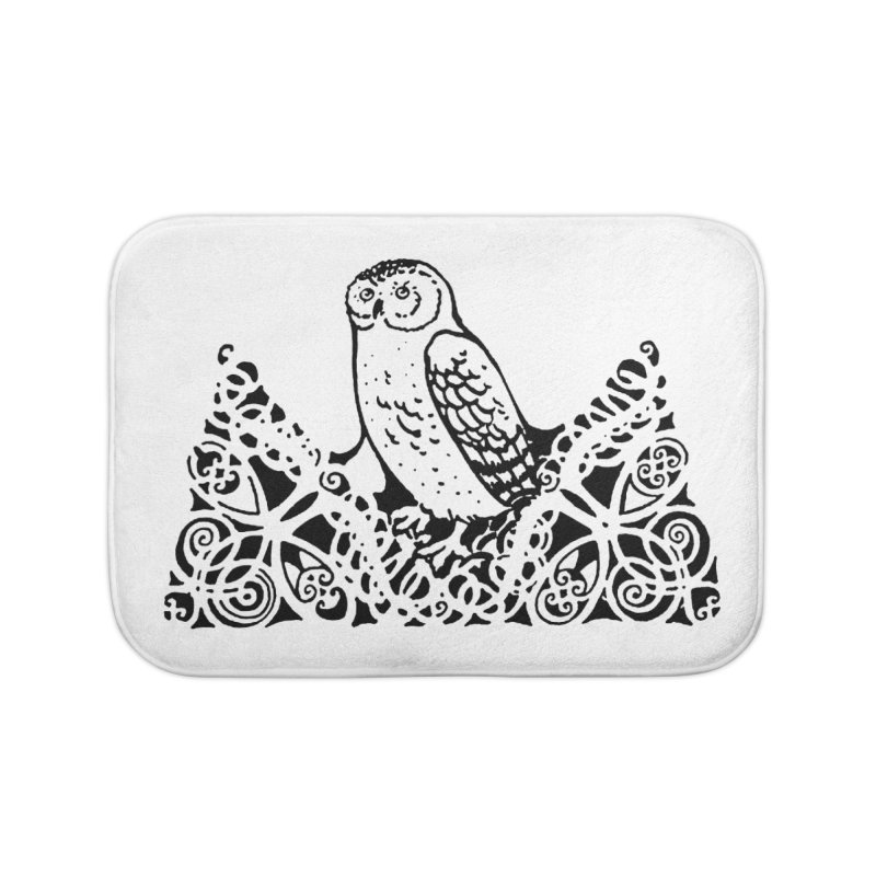 Tis Nothing but a Little Downy Owl Home Bath Mat by Green Grackle Studio