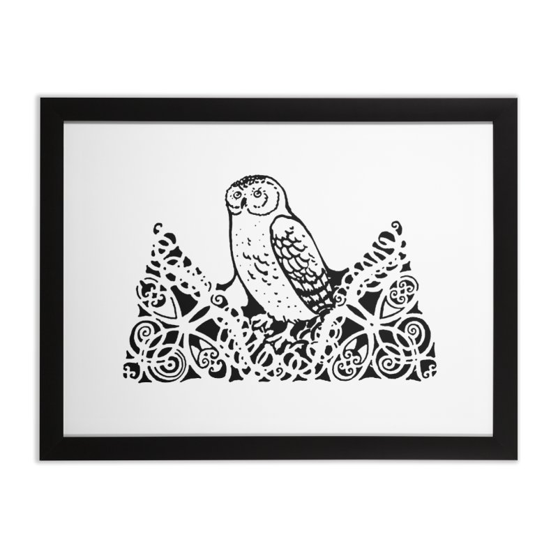 Tis Nothing but a Little Downy Owl Home Framed Fine Art Print by Green Grackle Studio