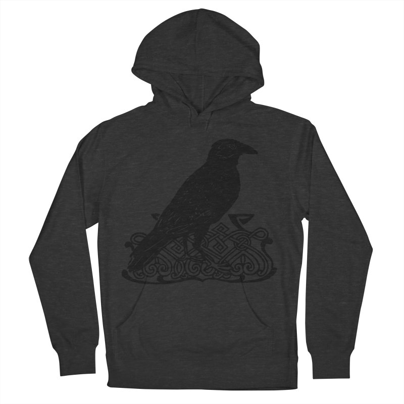 Crow with Celtic Knot Men's French Terry Pullover Hoody by Green Grackle Studio