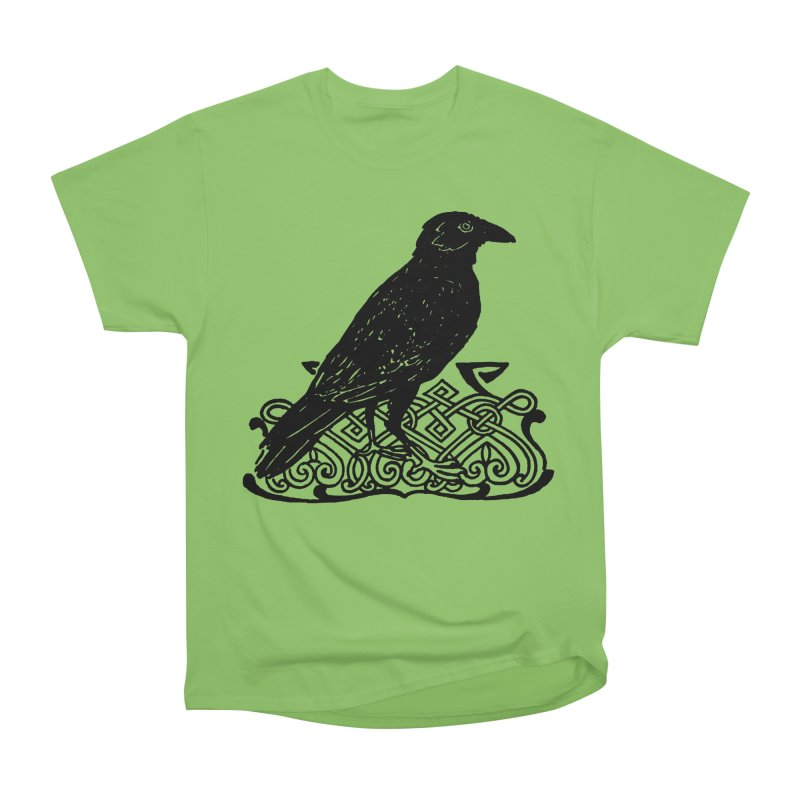 Crow with Celtic Knot Women's Heavyweight Unisex T-Shirt by Green Grackle Studio