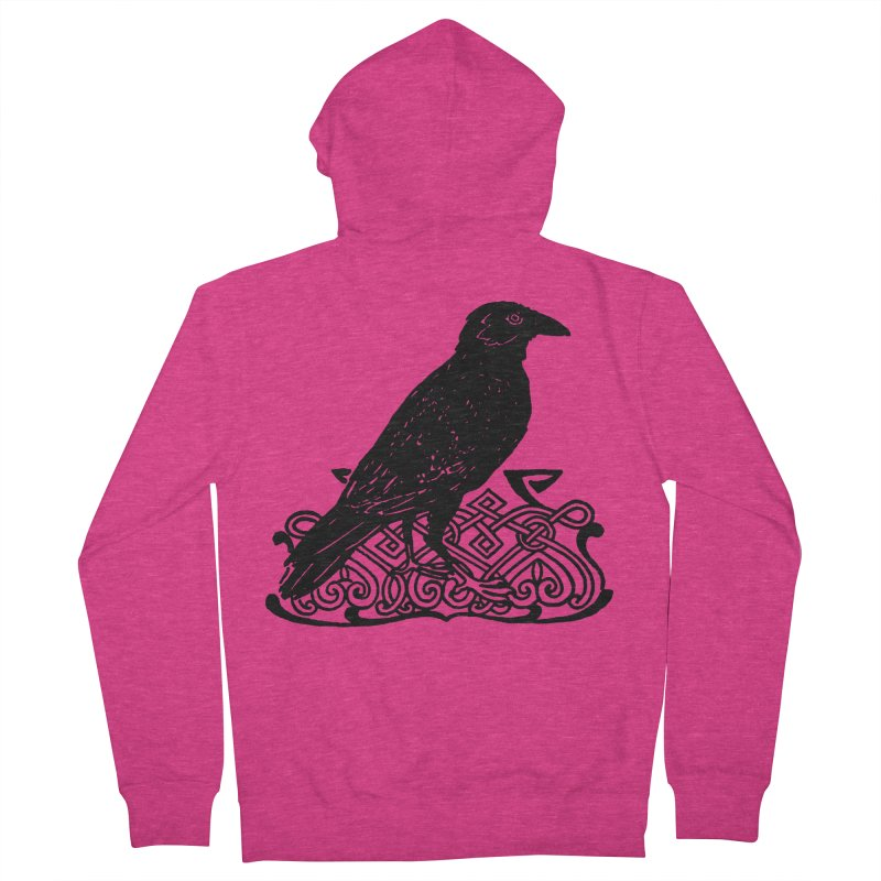 Crow with Celtic Knot Women's French Terry Zip-Up Hoody by Green Grackle Studio
