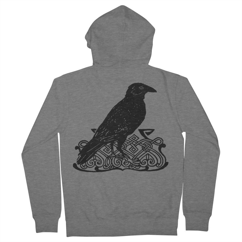 Crow with Celtic Knot Men's Zip-Up Hoody by Green Grackle Studio