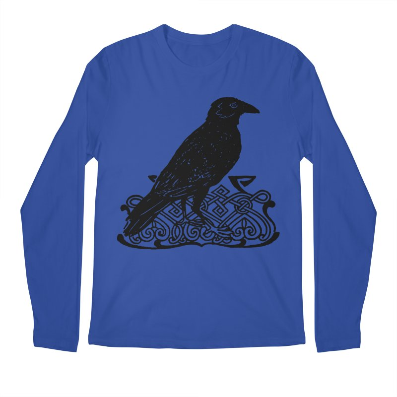 Crow with Celtic Knot Men's Longsleeve T-Shirt by Green Grackle Studio