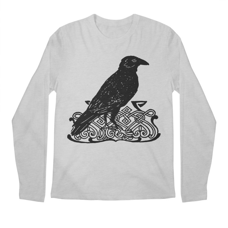 Crow with Celtic Knot Men's Regular Longsleeve T-Shirt by Green Grackle Studio