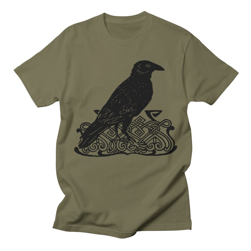 Crow with Celtic Knot Men's Regular T-Shirt by Green Grackle Studio