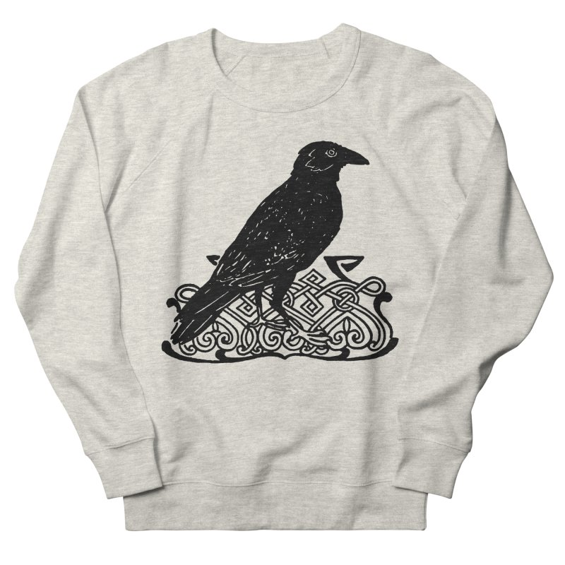 Crow with Celtic Knot Women's French Terry Sweatshirt by Green Grackle Studio