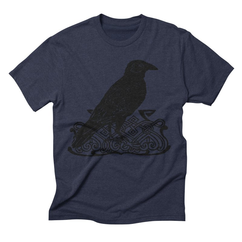 Crow with Celtic Knot Men's Triblend T-Shirt by Green Grackle Studio