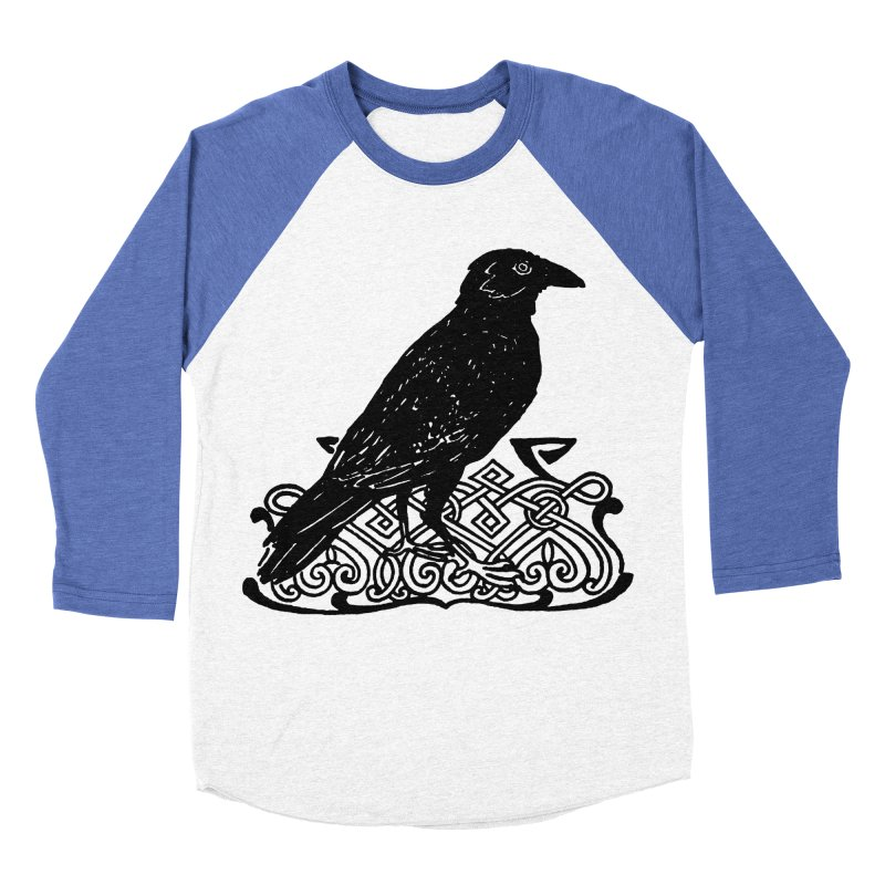 Crow with Celtic Knot Women's Baseball Triblend Longsleeve T-Shirt by Green Grackle Studio