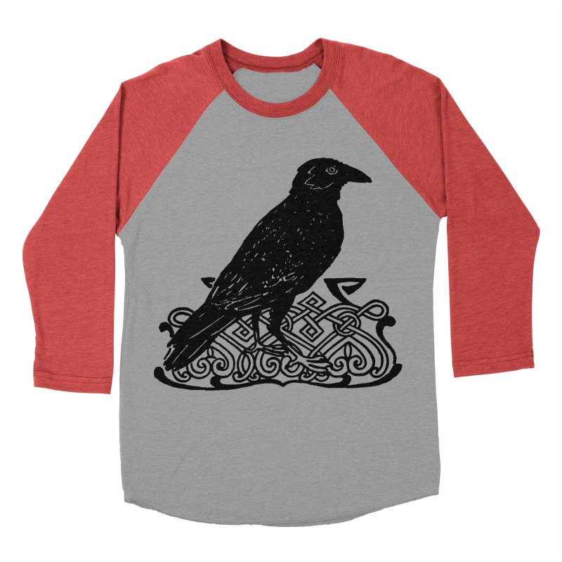 Crow with Celtic Knot Men's Baseball Triblend Longsleeve T-Shirt by Green Grackle Studio
