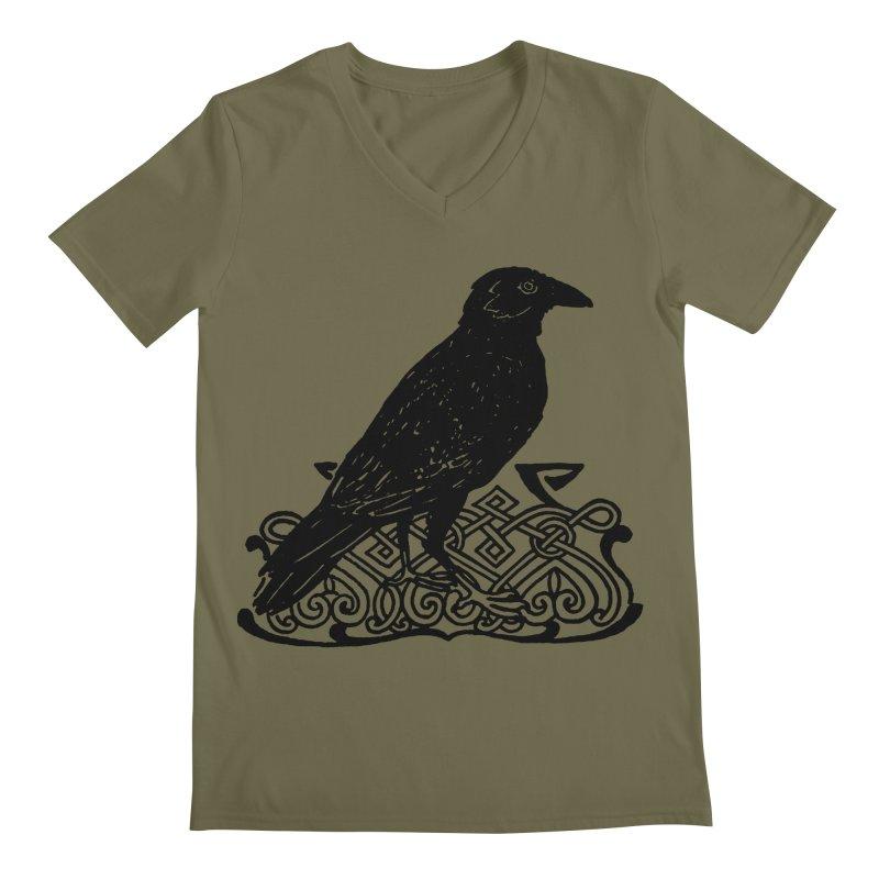 Crow with Celtic Knot Men's Regular V-Neck by Green Grackle Studio
